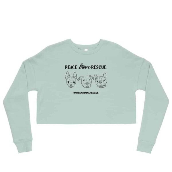 Peace Love Rescue 3 Dog Crop Sweatshirt 1