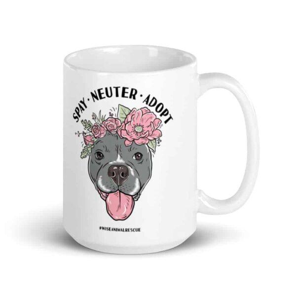 Flower Beluga Spay Neuter Adopt Large Coffee Mug 3