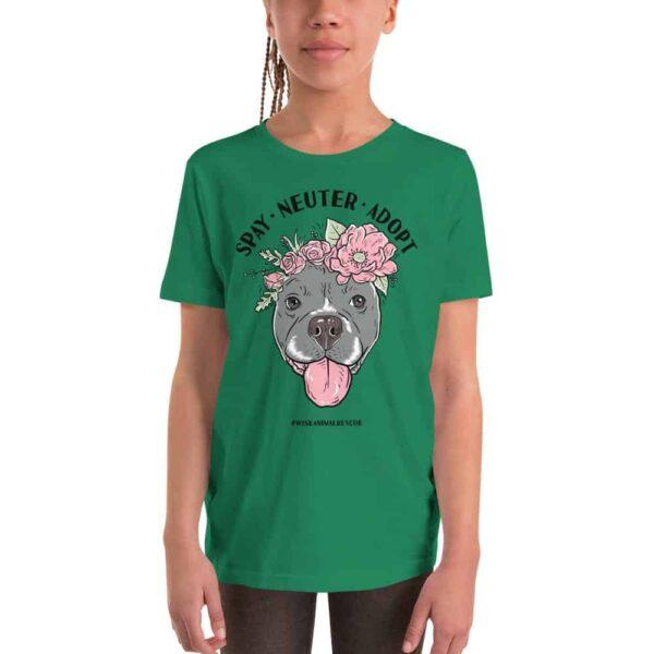 Flower Beluga Spay Neuter Adopt Youth T-Shirt Green