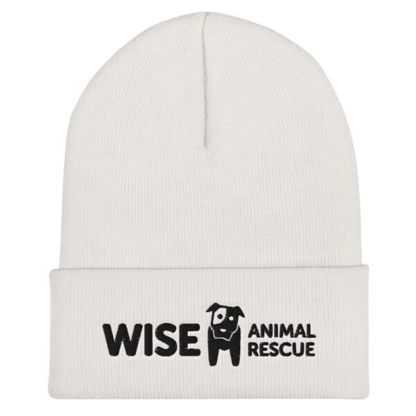 Wise Animal Rescue Beanie Hat White and Black Logo