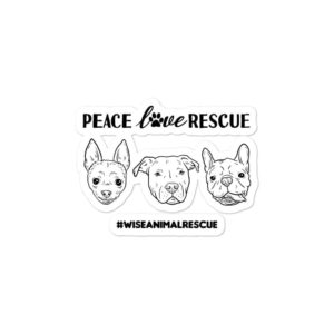 Peace Love Rescue 3 Dog Sticker 3