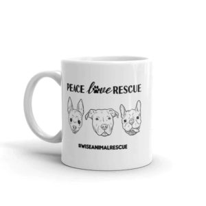 Peace Love Rescue 3 Dog Small Coffee Mug 2
