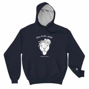 Flower Beluga Spay Neuter Adopt Hoodie Navy with White Logo