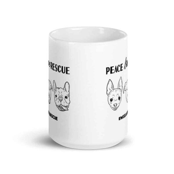 Peace Love Rescue 3 Dog Large Coffee Mug 1