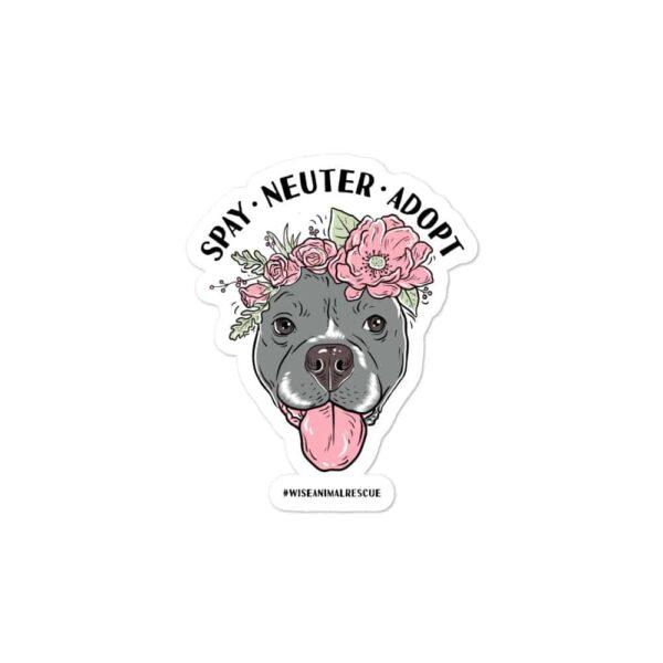 Flower Beluga Spay Neuter Adopt Sticker 3