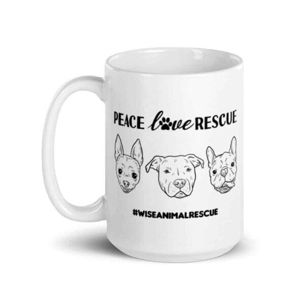 Peace Love Rescue 3 Dog Large Coffee Mug 2