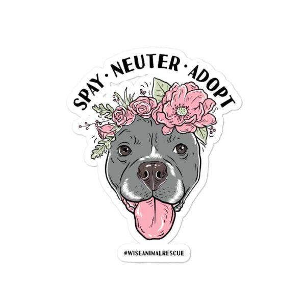 Flower Beluga Spay Neuter Adopt Sticker 2