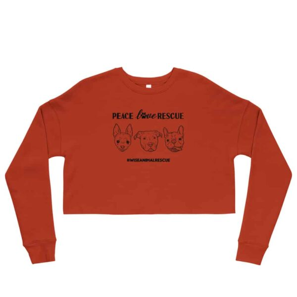 Peace Love Rescue 3 Dog Crop Sweatshirt 2
