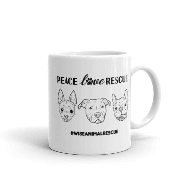 Peace Love Rescue 3 Dog Small Coffee Mug 3