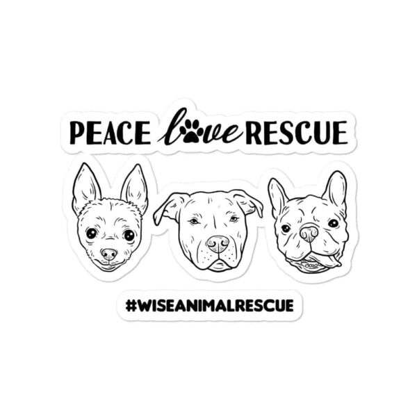 Peace Love Rescue 3 Dog Sticker 2