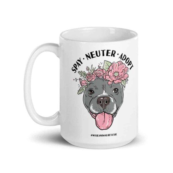 Flower Beluga Spay Neuter Adopt Large Coffee Mug 2