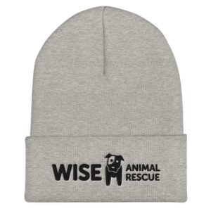Wise Animal Rescue Beanie Hat Gray and Black Logo