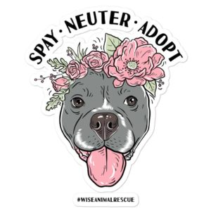 Flower Beluga Spay Neuter Adopt Sticker 1