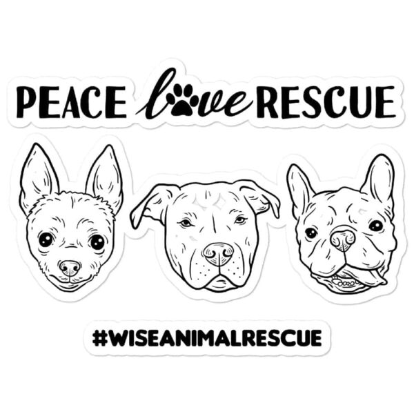 Peace Love Rescue 3 Dog Sticker 1